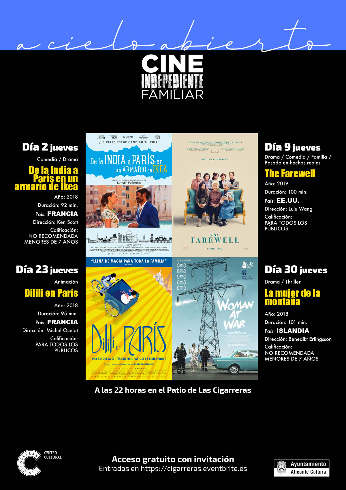 A cielo abierto cine de verano Las Cigarreras Alicante