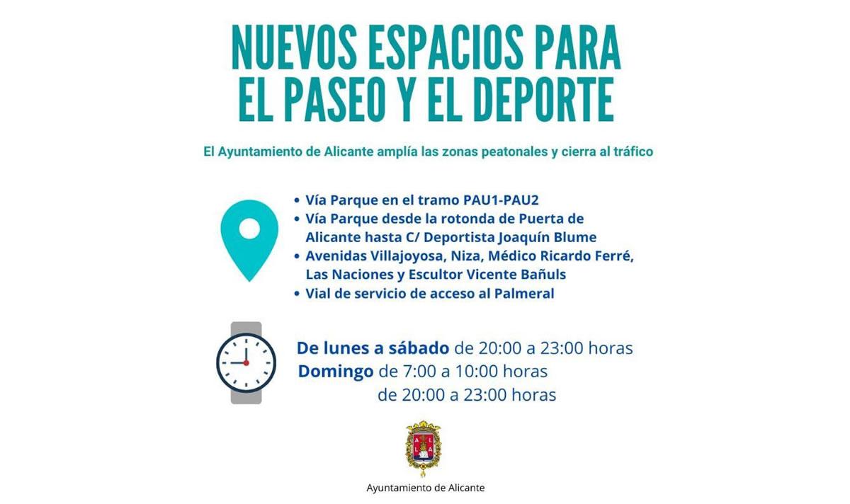 Alicante cortes zonas peatonalizadas