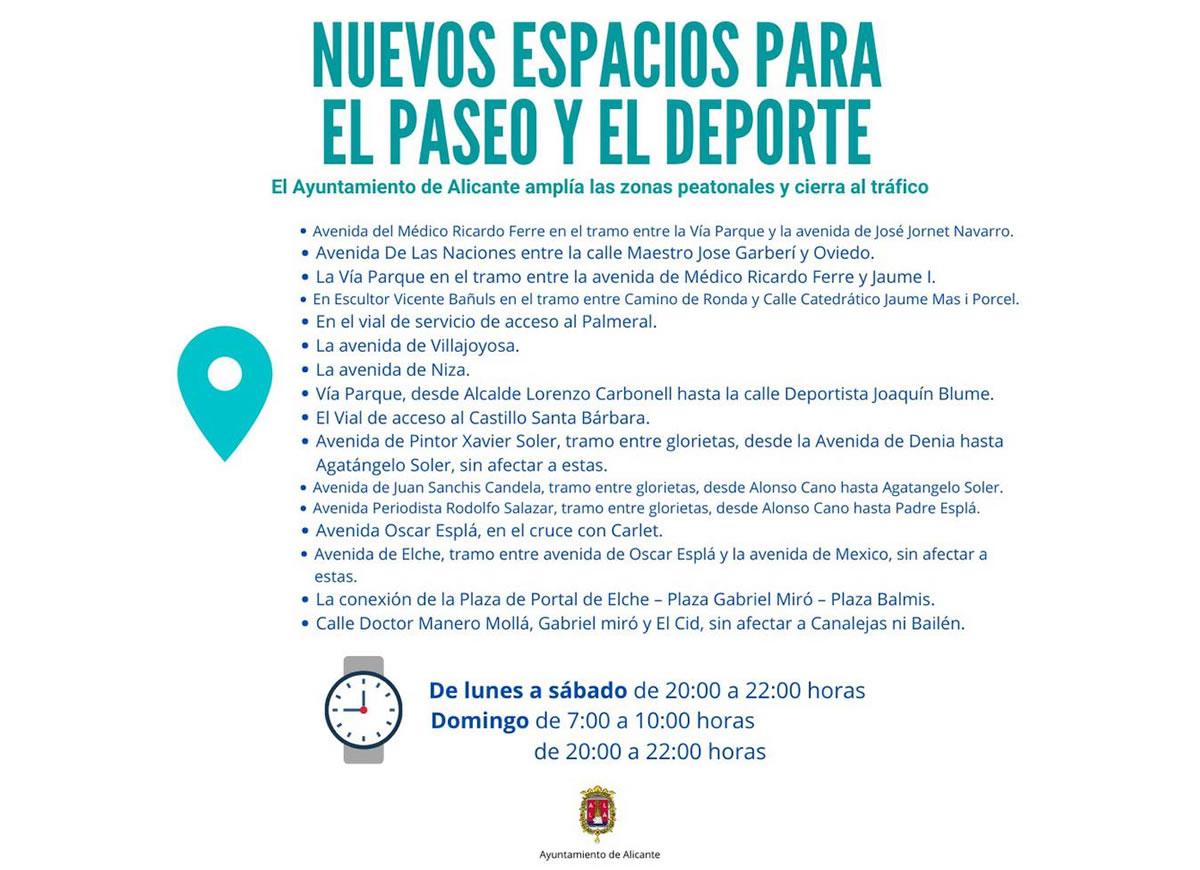 espacios para el paseo y deporte Alicante