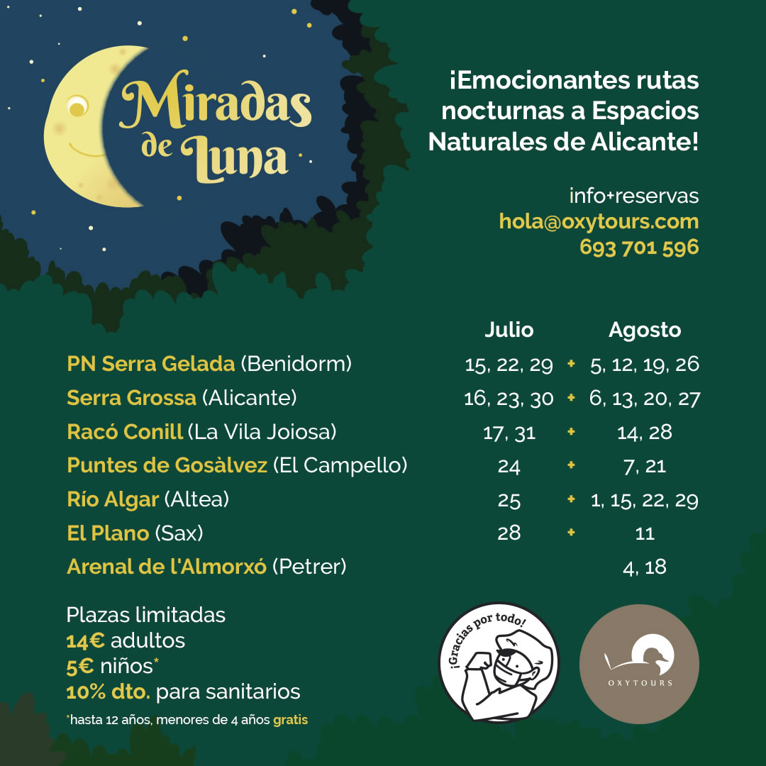 Rutas nocturnas espacios naturales Alicante