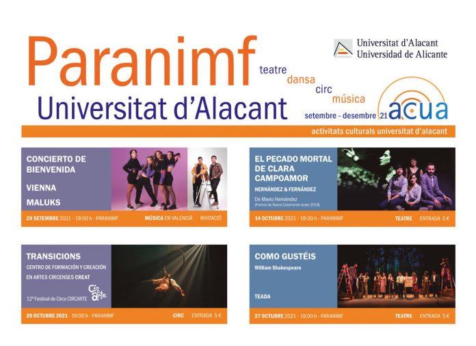 Paranimf, programación artes escénicas UA 2021-2022